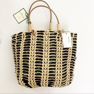 Vera Bradley Small Straw Bag Leather Handle NWT